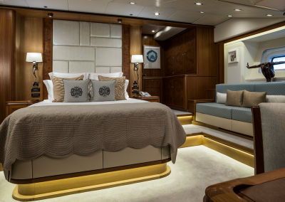 master bedroom suite on board SY Twilight