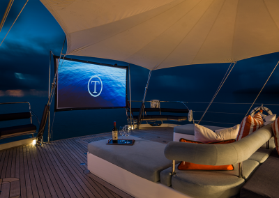 Outdoor Cinema on Board SY Twilight